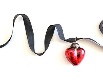 Red Heart Mercury Glass Ornaments . glass heart ornament . heart shaped ornament . small ornaments . red ornaments