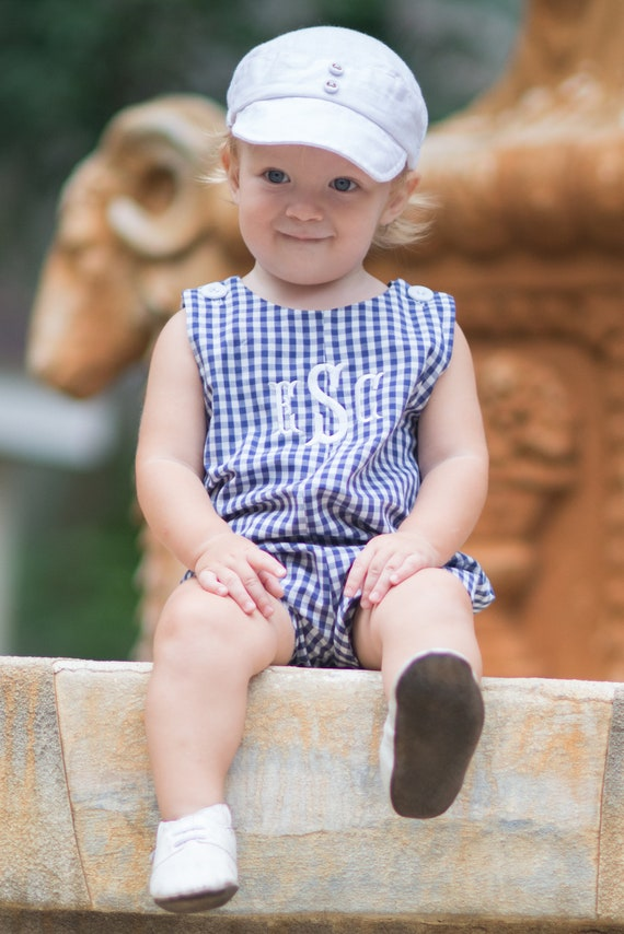 Boys Monogrammed Navy Blue Gingham Jon Jon, Monogram included, Perfect Summer Outfit for Boys