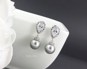 Brideamid Earrings Grey Earrings Pearl Earrings Swarovski Earrings Dangle Earrings Bridesmaid Gift for Mother Wedding Jewelry Maid of Honor