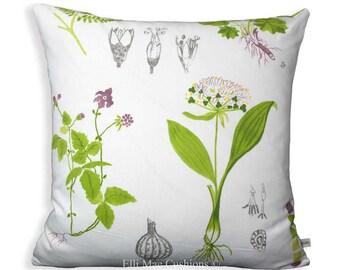 Ikea Dorothy Flowers Green White Designer Fabric Sofa Cushion Pillow Cover