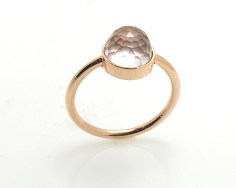 Rose Quartz Ring .