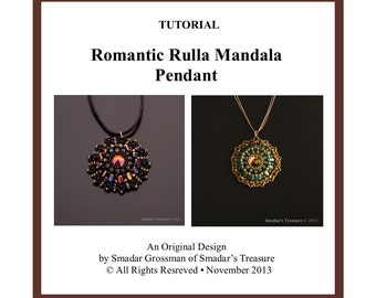 Beading Tutorial Romantic Rulla Mandala Pendant. Pattern with Two Hole Rula Rulla Beads. Beadweaving Instructions, Beadwork PDF File Pattern