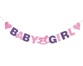 BABY Girl Pink Purple letter banner // Baby Girl // Baby Shower // Baby Party // New Born // Gender Reveal Party