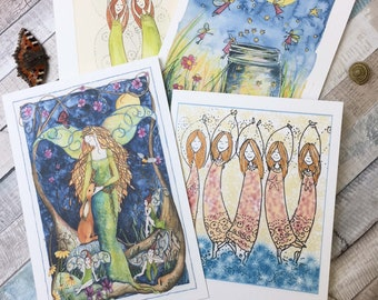 A set of 4 Faerie  cards pick and mix