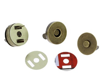 20 Purse Snaps - Bronze Magnetic Closures - 18mm -  Ships IMMEDIATELY  from California - A338a