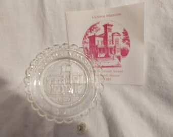 Victoria Mansion Pairpoint Glass Cup Plate Clear Glass Plate Collector Plate W/Paperwork 1985 RARE Portland ME