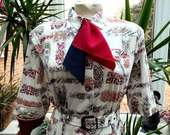1980's Does 1950's Novelty Print Shirt Dress