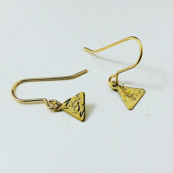 Brass Triangle Earrings with Stars - Geometric - Everyday - Simple - Modern - Small - Gypsy  - Gold - Stars - Tiny - Cute -