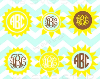 Sun Sunflowers monogram base designs SVG and studio files for Cricut, Silhouette, Vinyl Cutters and Screen Printing