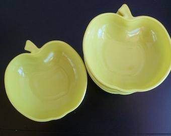 Green Glass Apple Bowls, Vintage Hazel Atlas Chartreuse Orchard, Milk Glass Serving Bowls, 2 sets of Four