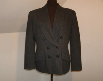 Grey Wool Blend Double Breasted Jacket Coat Lapel Collar Fitted Tweed Le Suit Petite Blazer Woman's Coat Size 14 P Petite