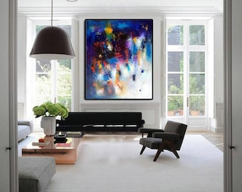 "XL Abstract painting, Modern oil canvas large wall art, 36""x42"" gallery canvas modern navy painting, calming art, large navy pink canvas art"