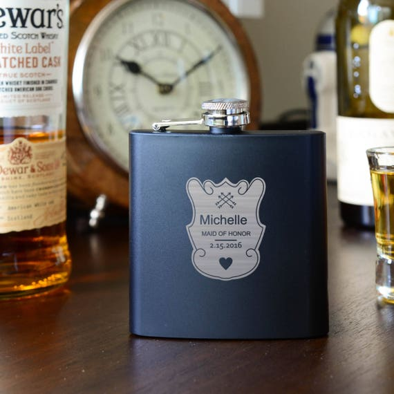 Personalized Flask | Bridesmaids Gifts | Bachelorette Gifts | Wedding Party gift | Bridesmaid Flasks | Pink Flask | Crest Design | #FSK017