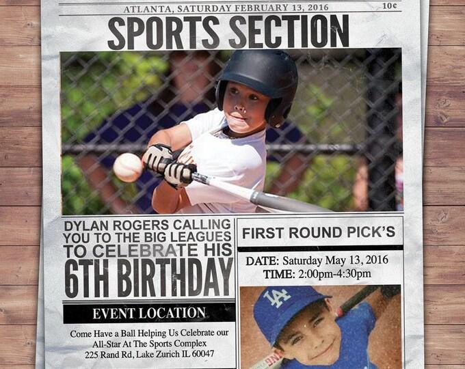 Vintage Baseball birthday Invitation // All Star Little Slugger Baby Shower //  BIRTHDAY invitation, baseball, sports, newspaper, invite