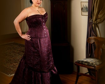 Plus Size Wedding Corset Gown, Burgundy Brocade Curvy Corset, Smoothing Busk, Full Figured Fitted Flared Long Skirt, free fitting and mockup