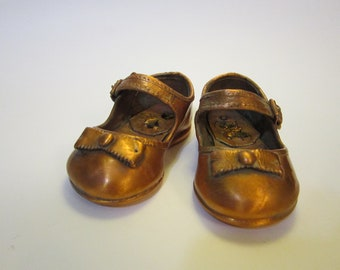 vintage coppered baby shoes, copper mary janes - baby shoes