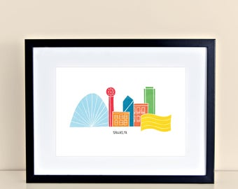 Dallas Skyline Digital Print - SMU Downtown Reunion Tower Fountain Place Omni Hotel Chase Tower Margaret Hunt Hill Bridge Texas