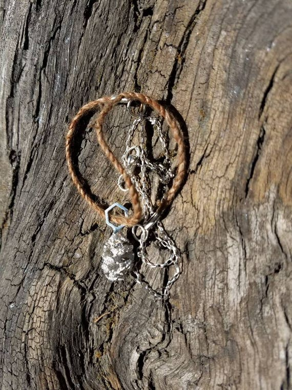 Redwood Cone Hexagon Rustic Sterling Silver and Dogbane Necklace - OOAK Northern California Forest Art Jewelry