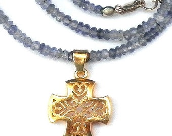 SALE, Solid 24kt Gold,Iolite Gemstone Necklace,Pure Yellow Gold Filigree Cross,Genuine Faceted Blue Iolite, Gemstone Necklace