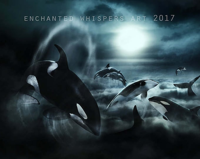 Surreal fantasy Orca whales art print