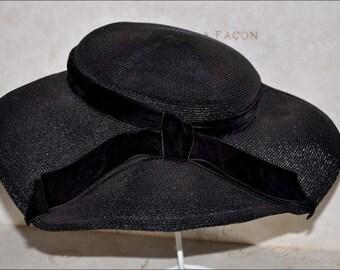 Black Wide Brimmed Hat, Vintage Black Hat, Vintage Straw Hat, Straw Wide Brim Hat, Ladies Black Hat, Black Straw Hat, Ladies Wide Brim Hat