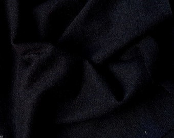 Black  Wool Blend Jersey Knit Fabric by the Yard