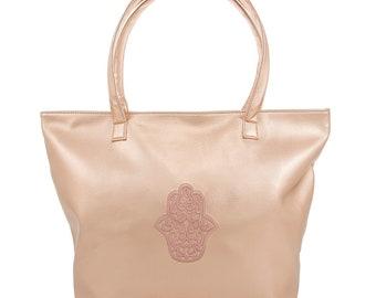 Womens Fashion Metallic Rose Gold Tote Hamsa Design Handbag Bag Organiser