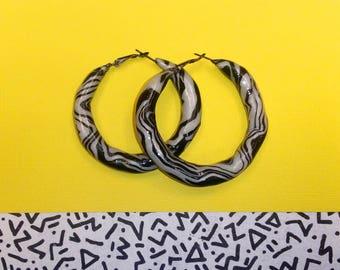 Medium Pearl White / Zebra, clay handmade memphis design retro hoops