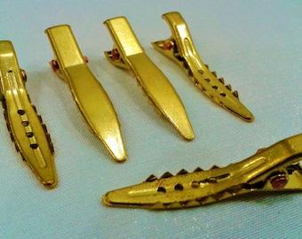 20  Pcs  Raw Brass 8 x 33  mm Alligator Clips , Raw Brass Hair Clips