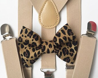 FREE DOMESTIC SHIPPING! Tan suspenders + Cheetah Bow Tie family photos photo prop holiday picture