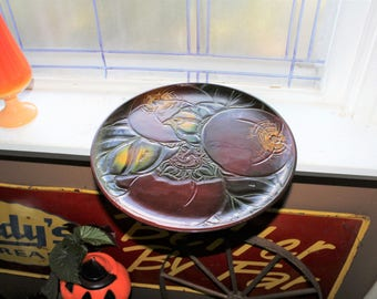 """Vintage Asian Lacquer Tray Large Round Platter 14"""""""