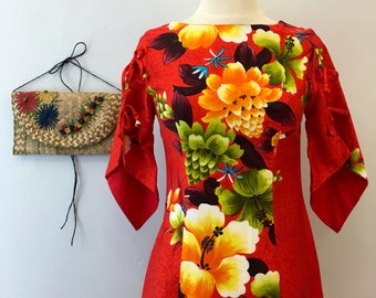 Red Hawaiian dress * Vintage 1960s floral maxi * 60s colorful cotton dress