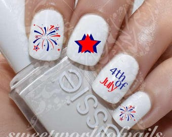 4th of July Nail Art Fireworks Water Decals Transfers Wraps