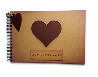 First Year anniversary gift for boyfriend / girlfriend / husband / Christmas present photo album rustic scrapbook memory book