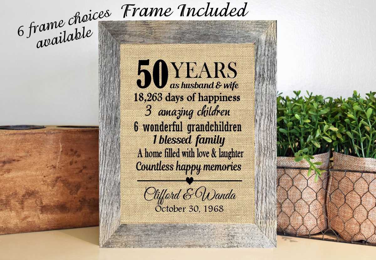 Personalised 50th Wedding Anniversary Gifts: FRAMED Personalized 50th Anniversary Gift/50th Wedding