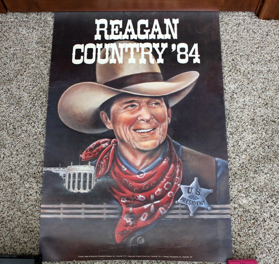 Vintage 1984 Reagan Country Poster | Sheriff Marshall US President | 20 x 30 Size