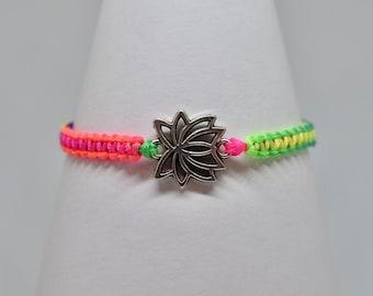 Lotus Flower Silver Charm Macrame Bracelet - Neon