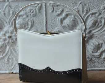 1960's Black And White Faux Leather Kelly Bag By Naturalizer