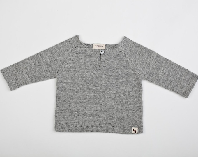 Featured listing image: Raglan pullover / Baby alpaca gray sweater / light pullover for boy / girl / baby / toddler / kids