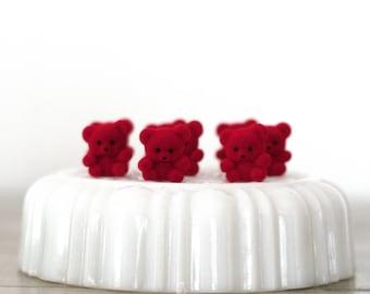 "Miniature Flocked Red Teddy Bears 1"""
