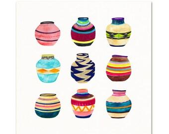 Tribal Basket Watercolor art. Colorful Boho Art Print. Painted Woven Basket Collection.  Bohemian Wall Art.  Modern Home Decor.