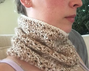 Handcrafted Cowl made with an alpaca and merino blended yarn.