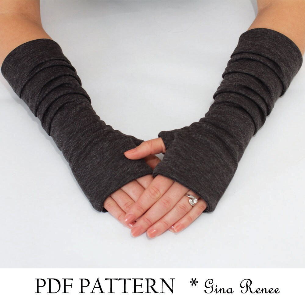 Fingerless Gloves Pattern with Pleats. PDF Glove Sewing