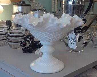 Vintage Unmarked Milk Glass Pedestal Dish/Compote/Candle Holder!
