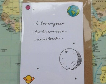 I Love You To The Moon And Back A7 Greeting Card - Relationship Card