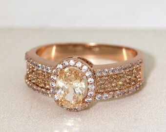 Rose Gold Oval Cut Halo Champagne Promise Ring /Champagne Color Engagement Ring #1002
