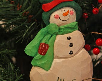 Hand Carved Melt Your Heart Christmas gift snowman ornament handpainted, free shipping in USA, Christmas wearable pins, WasatchWoodcarver