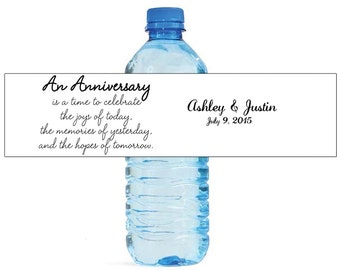 An Anniversary Quote Water Bottle Labels Customizeable labels With names and date Self stick easy to use