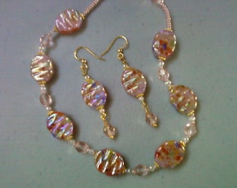 Pink Multicolor Necklace and Earrings (0507)