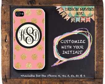 Glitter Polka Dot iPhone Case, Monogrammed iPhone Case, Gift for Her, iPhone 5, 5s, 5c, 4, 4s, iPhone 6, 6s, 6 Plus, SE, iPhone 7, 7 Plus